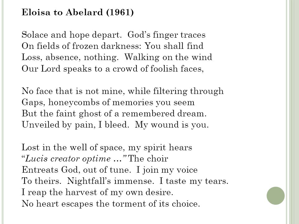 Eloisa to Abelard (1961) Solace and hope depart