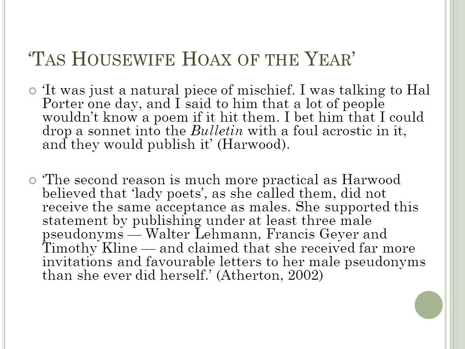 'Tas Housewife Hoax of the Year'