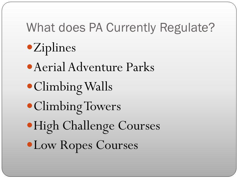 What does PA Currently Regulate
