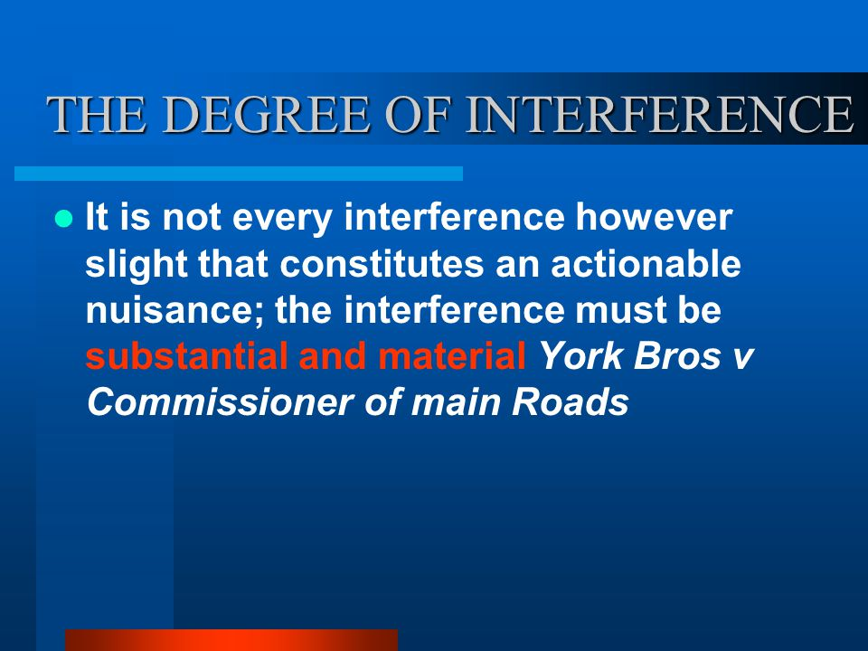 THE DEGREE OF INTERFERENCE