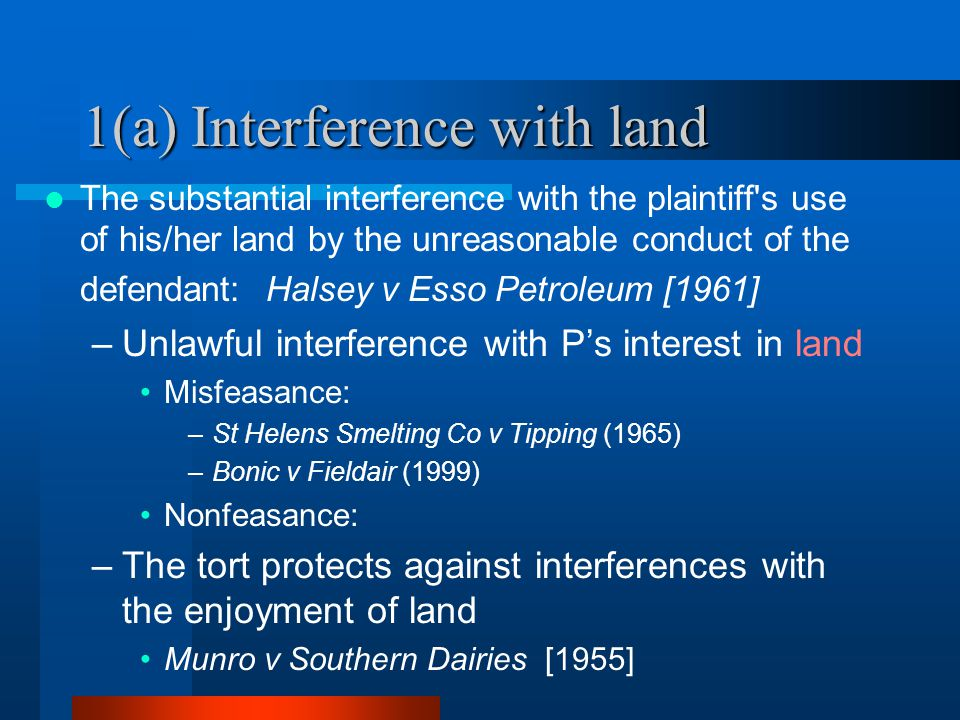 1(a) Interference with land