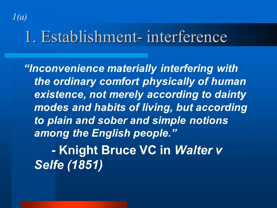 1. Establishment- interference
