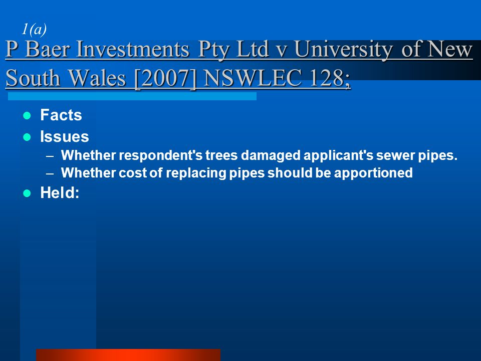 1(a) P Baer Investments Pty Ltd v University of New South Wales [2007] NSWLEC 128; Facts. Issues.