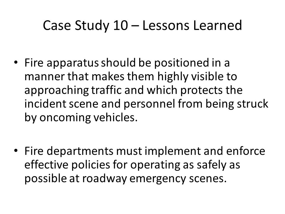 Case Study 10 – Lessons Learned