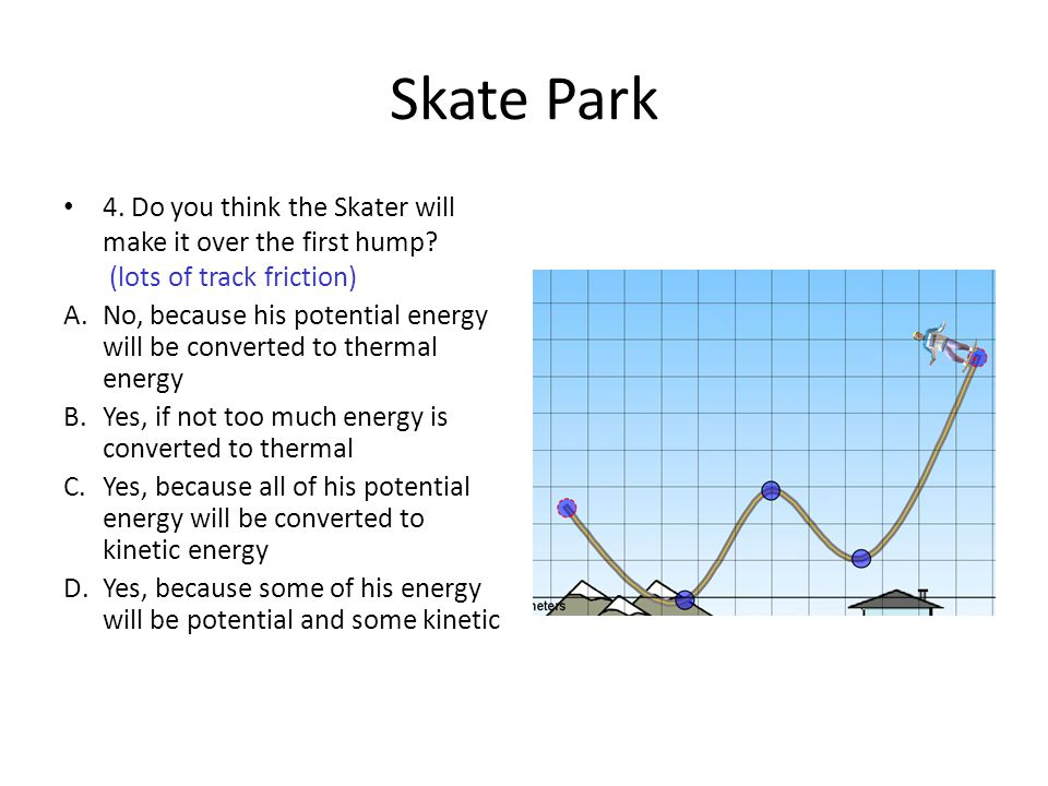 Skate Park 4. Do you think the Skater will make it over the first hump (lots of track friction)