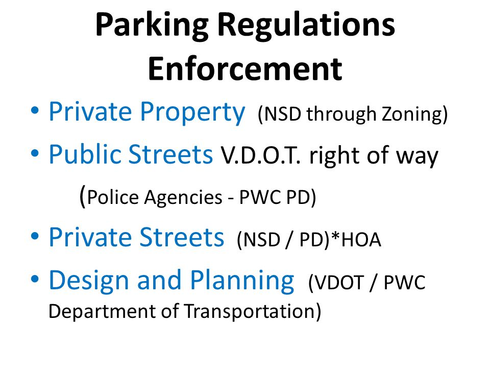 Parking Regulations Enforcement