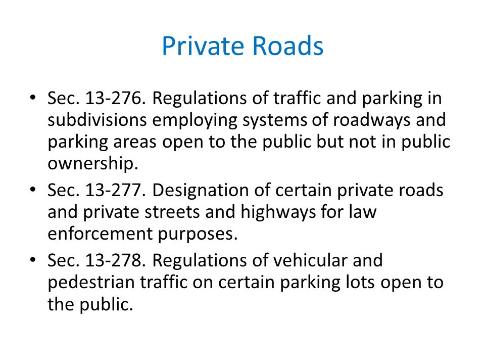 Private Roads
