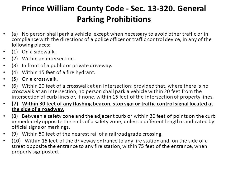 Prince William County Code - Sec. 13-320. General Parking Prohibitions