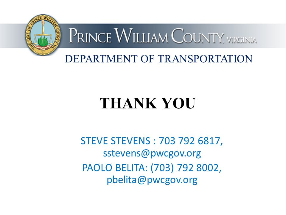 THANK YOU DEPARTMENT OF TRANSPORTATION