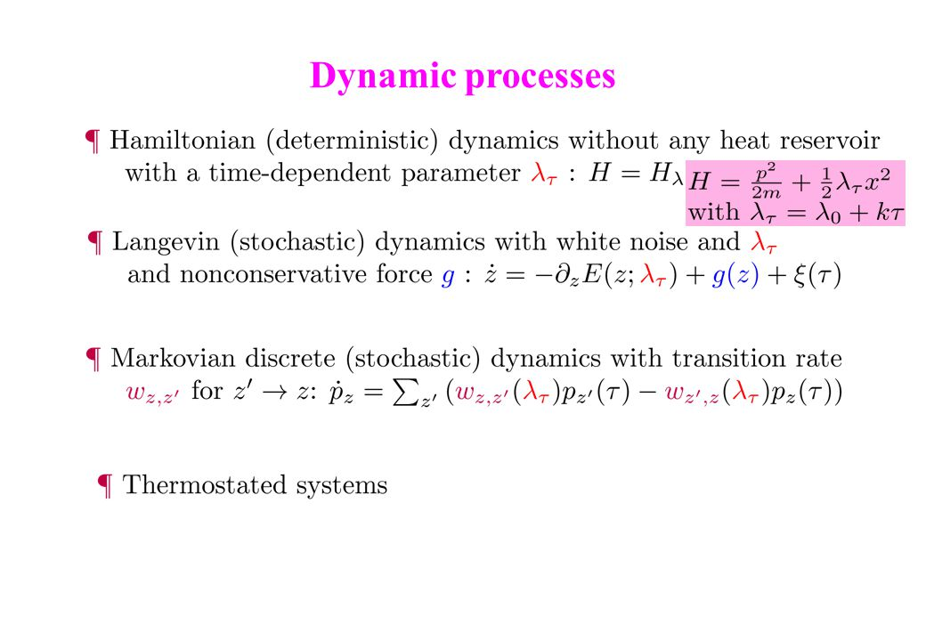 Dynamic processes