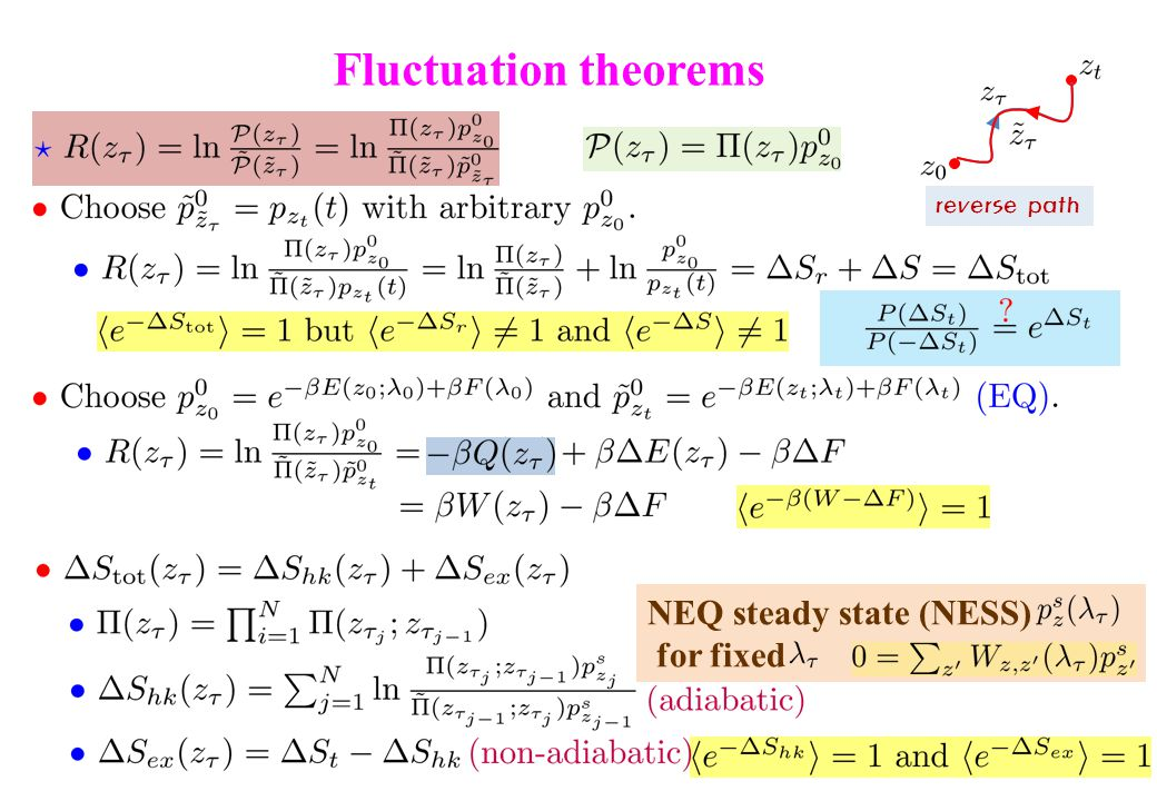 Fluctuation theorems reverse path NEQ steady state (NESS) for fixed