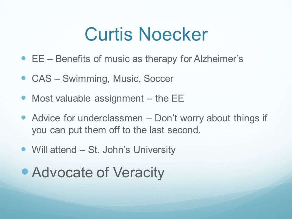 Curtis Noecker Advocate of Veracity