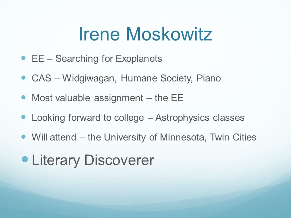 Irene Moskowitz Literary Discoverer EE – Searching for Exoplanets
