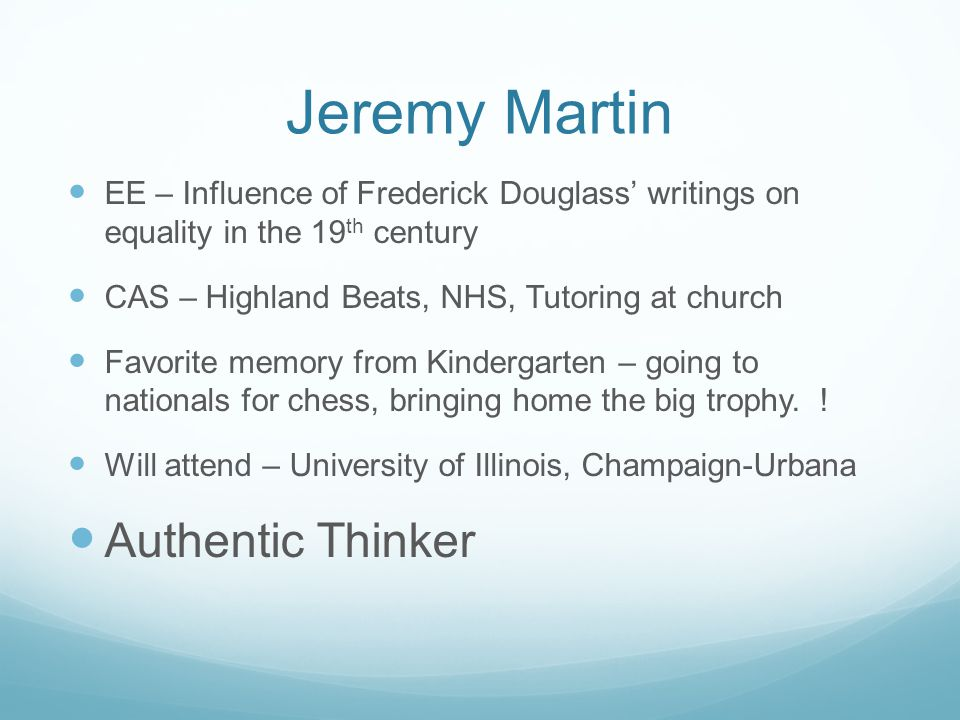 Jeremy Martin Authentic Thinker