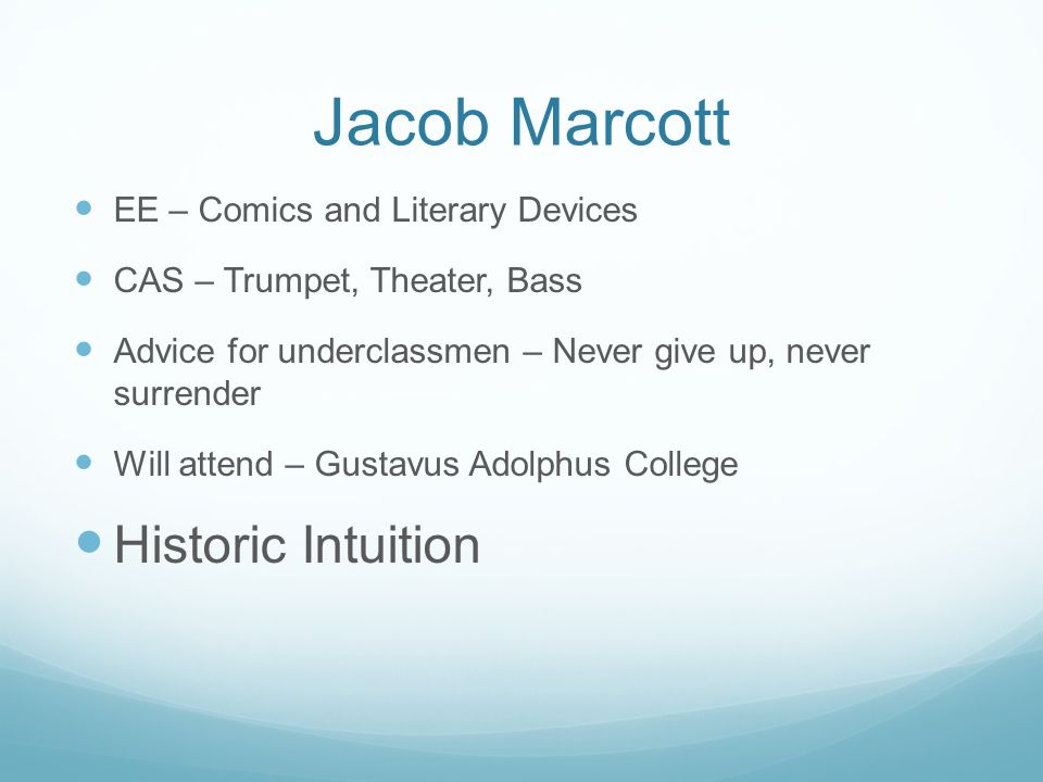 Jacob Marcott Historic Intuition EE – Comics and Literary Devices