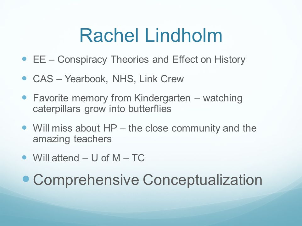 Rachel Lindholm Comprehensive Conceptualization