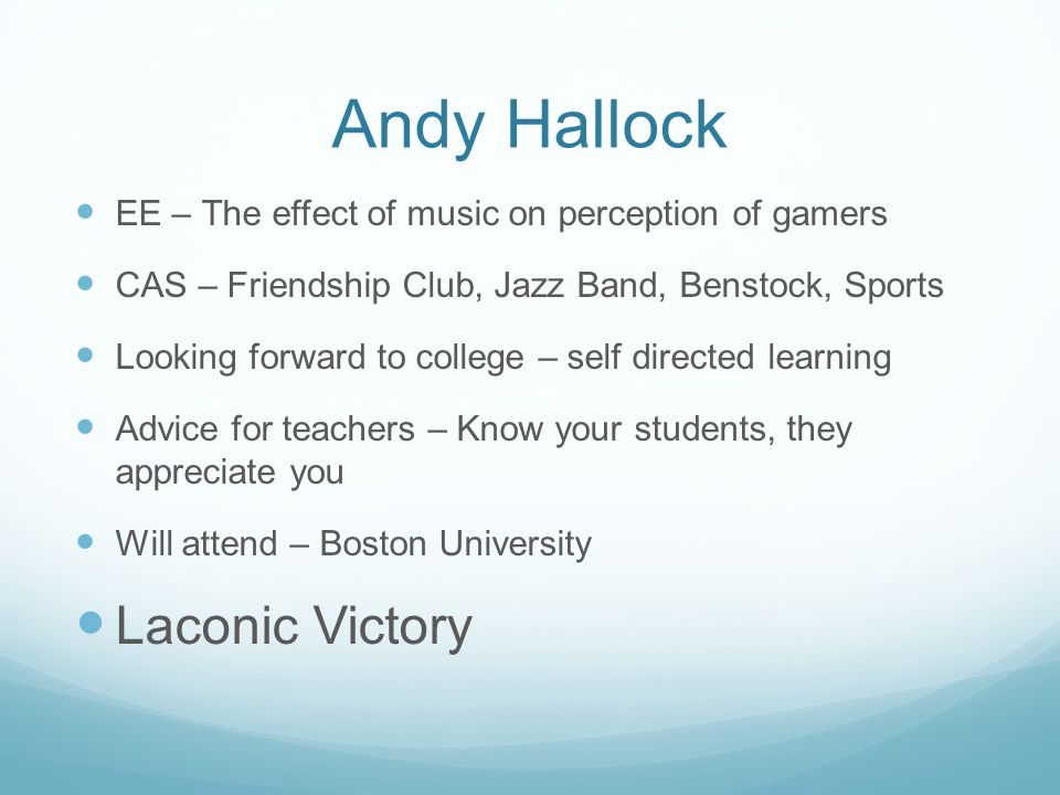 Andy Hallock Laconic Victory