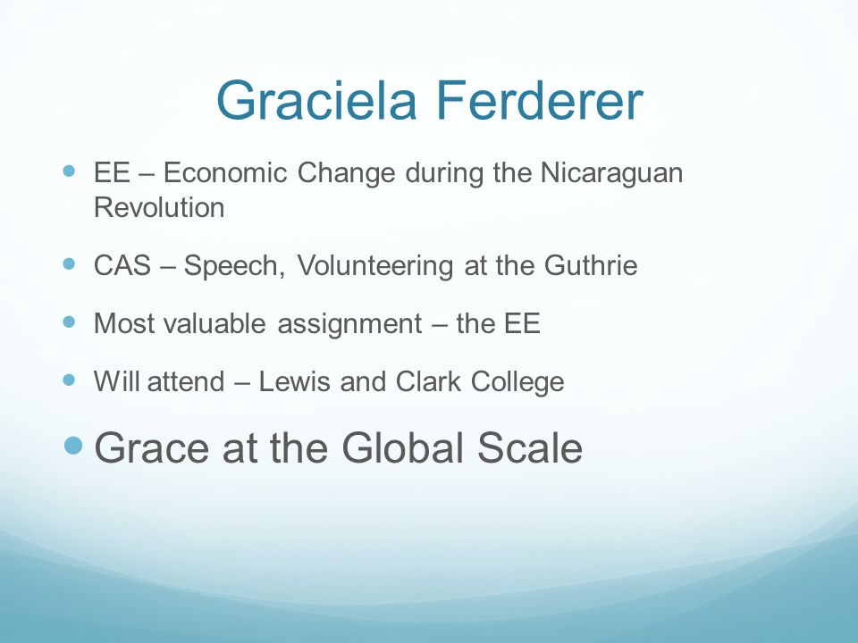 Graciela Ferderer Grace at the Global Scale