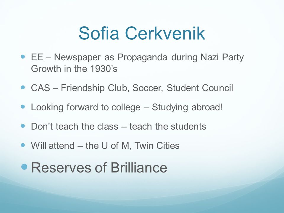 Sofia Cerkvenik Reserves of Brilliance