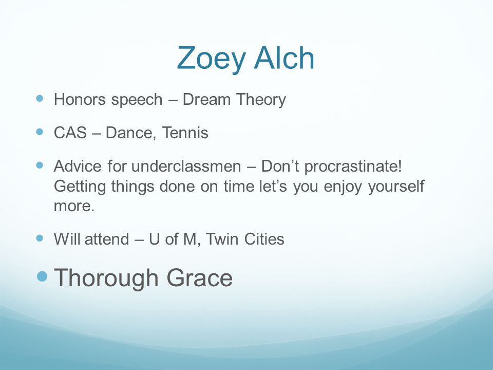 Zoey Alch Thorough Grace Honors speech – Dream Theory