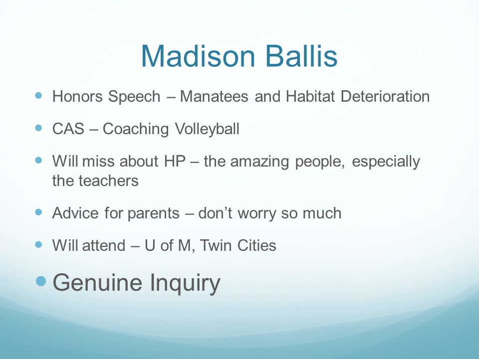 Madison Ballis Genuine Inquiry