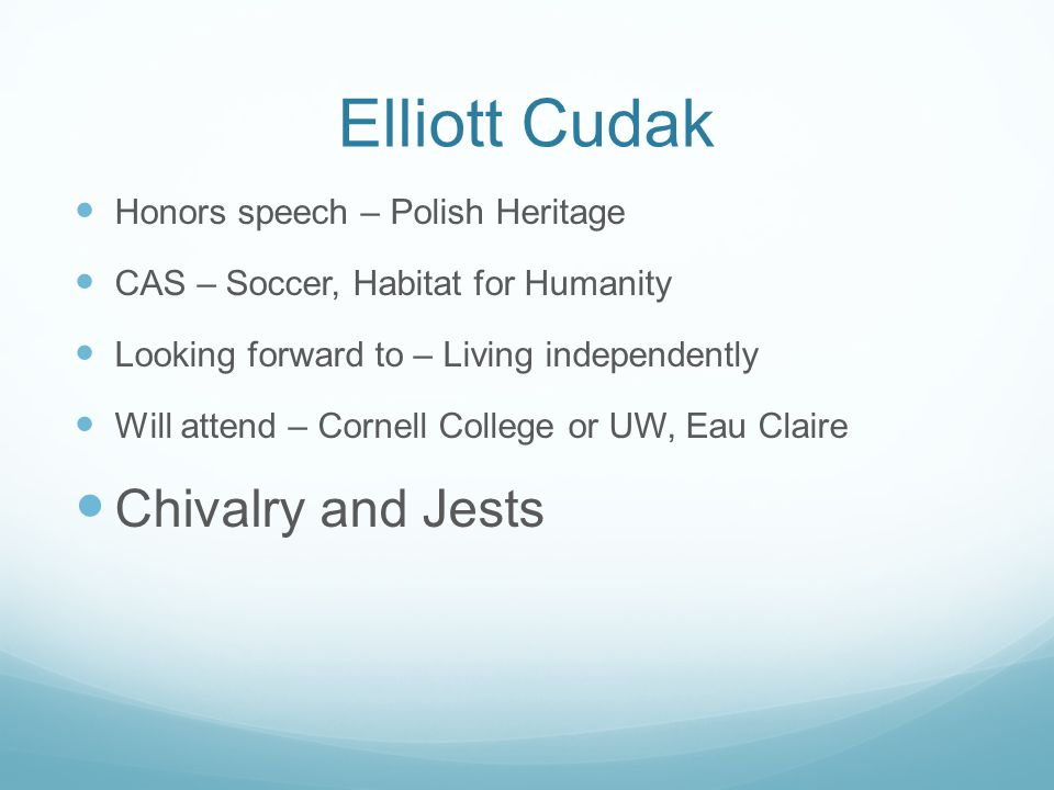 Elliott Cudak Chivalry and Jests Honors speech – Polish Heritage