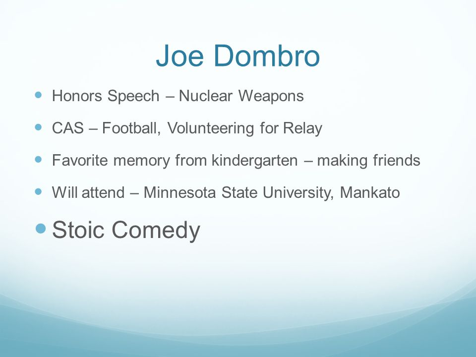 Joe Dombro Stoic Comedy Honors Speech – Nuclear Weapons