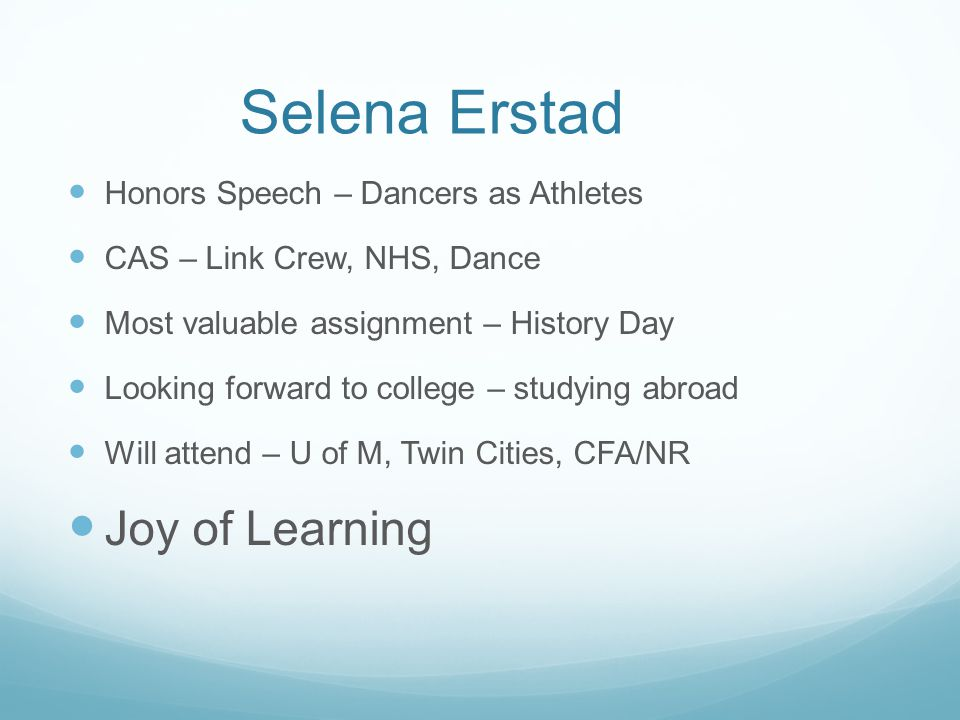 Selena Erstad Joy of Learning Honors Speech – Dancers as Athletes