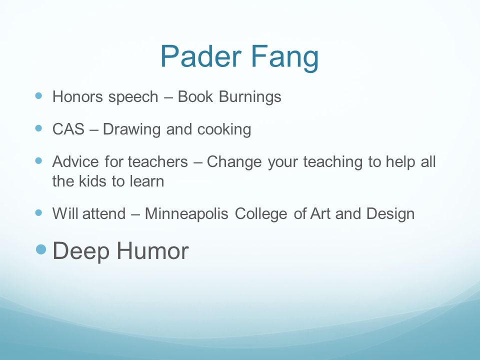 Pader Fang Deep Humor Honors speech – Book Burnings