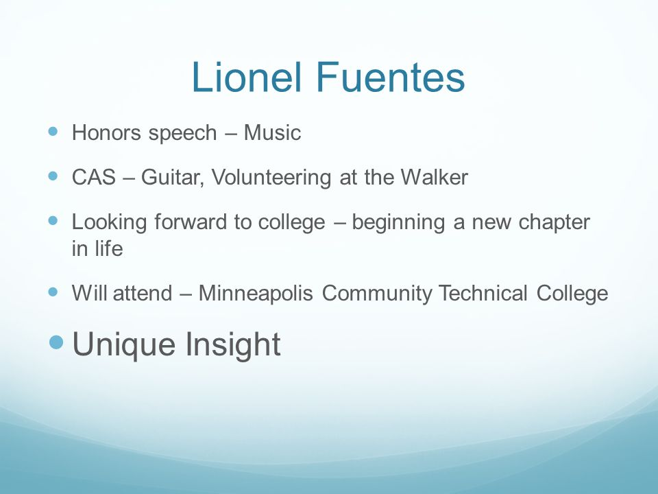 Lionel Fuentes Unique Insight Honors speech – Music