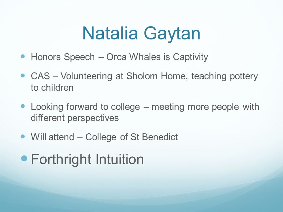 Natalia Gaytan Forthright Intuition