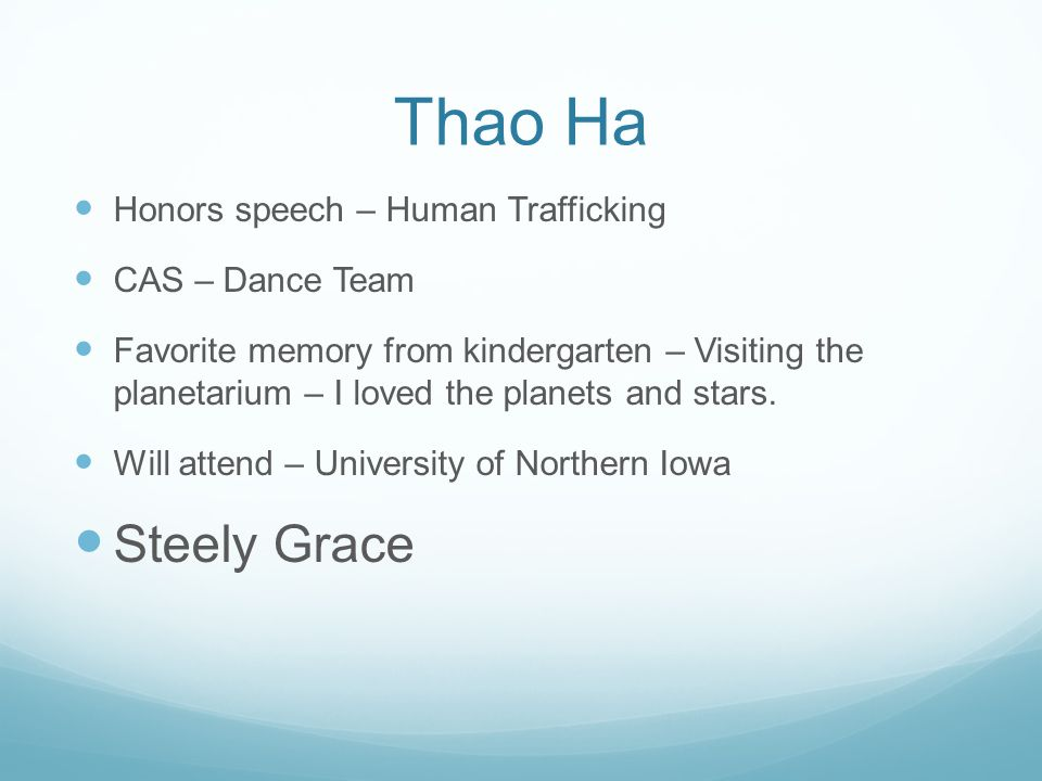 Thao Ha Steely Grace Honors speech – Human Trafficking