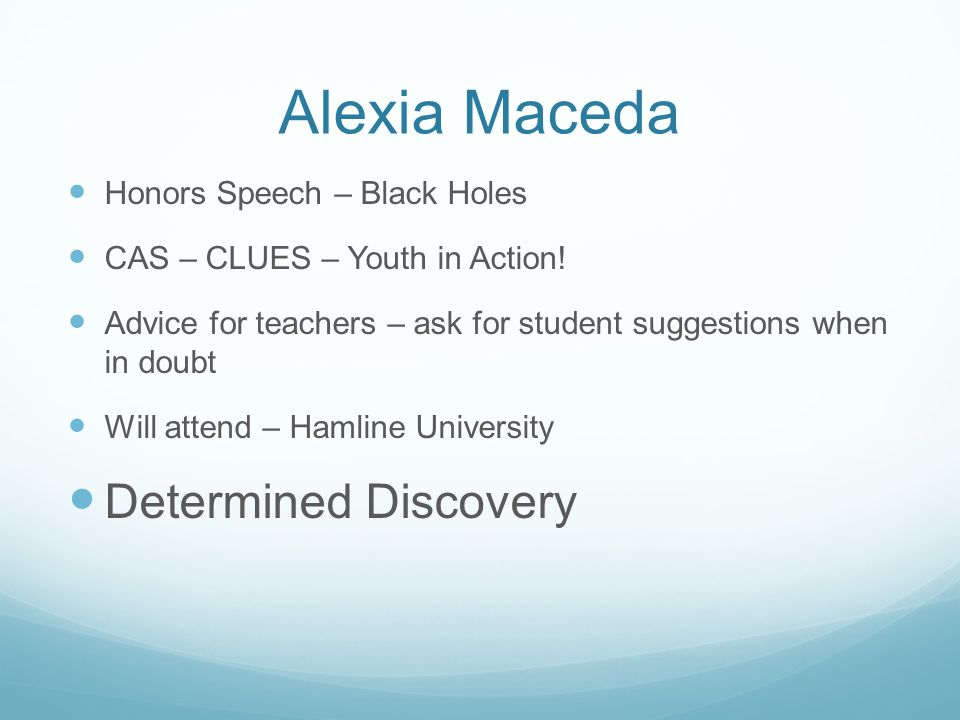 Alexia Maceda Determined Discovery Honors Speech – Black Holes