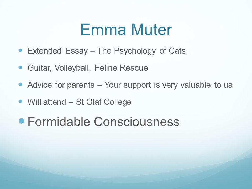 Emma Muter Formidable Consciousness
