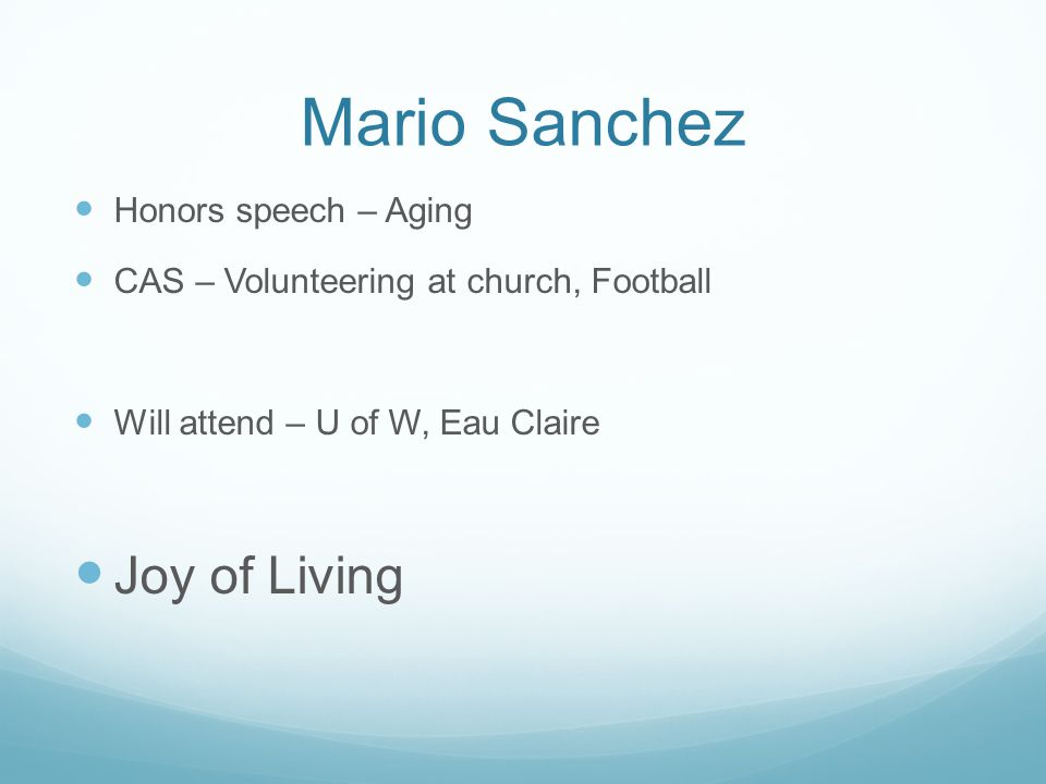 Mario Sanchez Joy of Living Honors speech – Aging