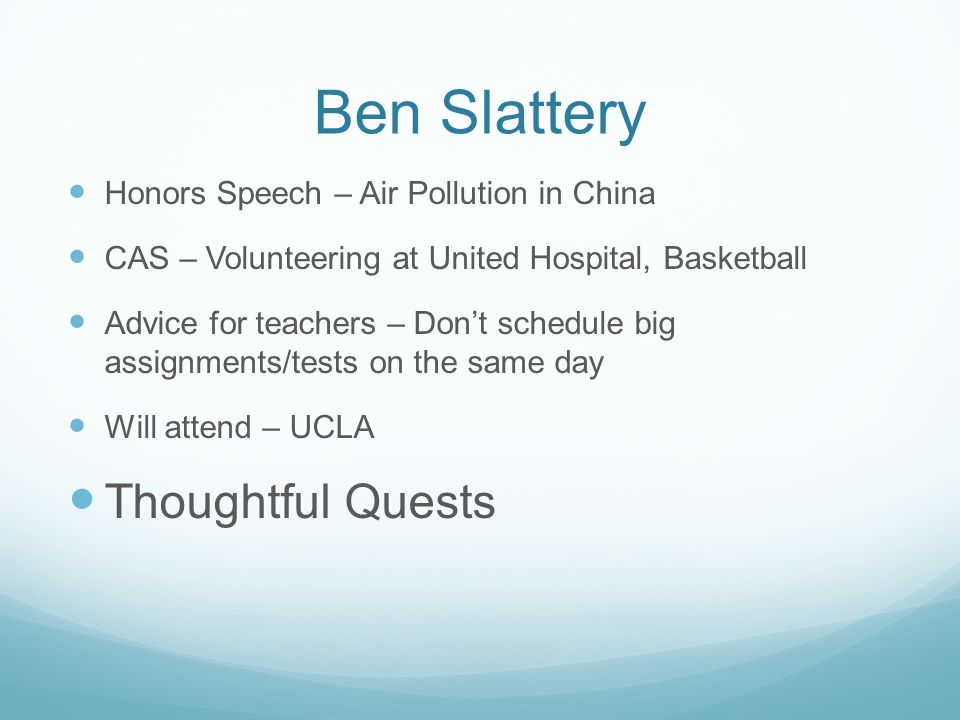 Ben Slattery Thoughtful Quests Honors Speech – Air Pollution in China