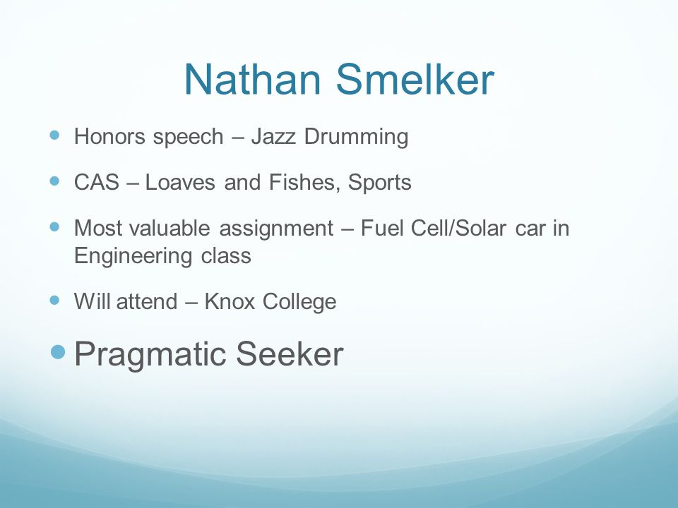 Nathan Smelker Pragmatic Seeker Honors speech – Jazz Drumming