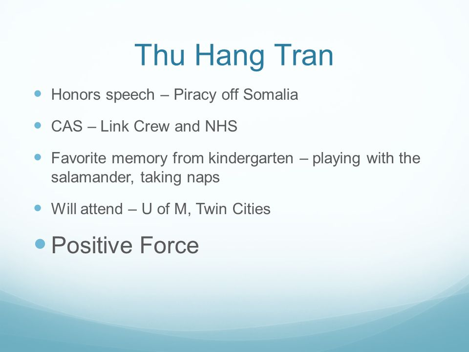Thu Hang Tran Positive Force Honors speech – Piracy off Somalia