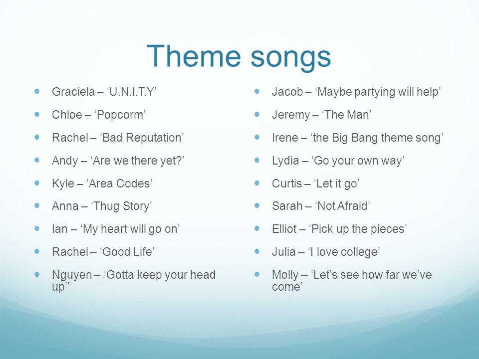 Theme songs Graciela – 'U.N.I.T.Y' Chloe – 'Popcorm'