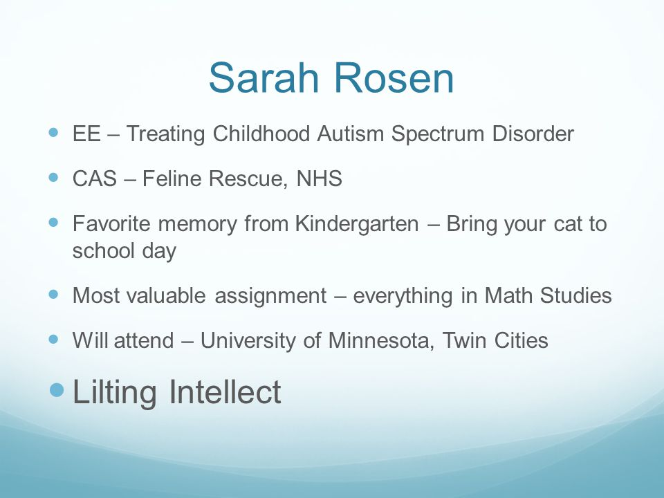 Sarah Rosen Lilting Intellect