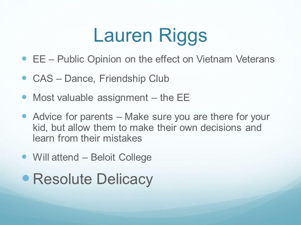 Lauren Riggs Resolute Delicacy