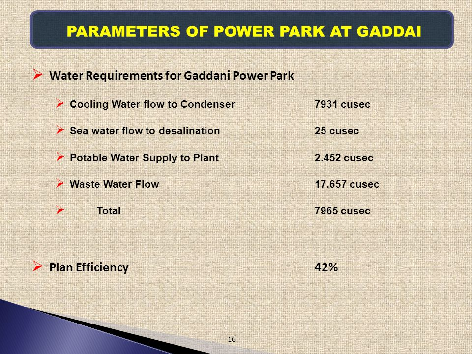 PARAMETERS OF POWER PARK AT GADDAI