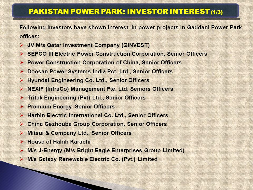 PAKISTAN POWER PARK: INVESTOR INTEREST (1/3)