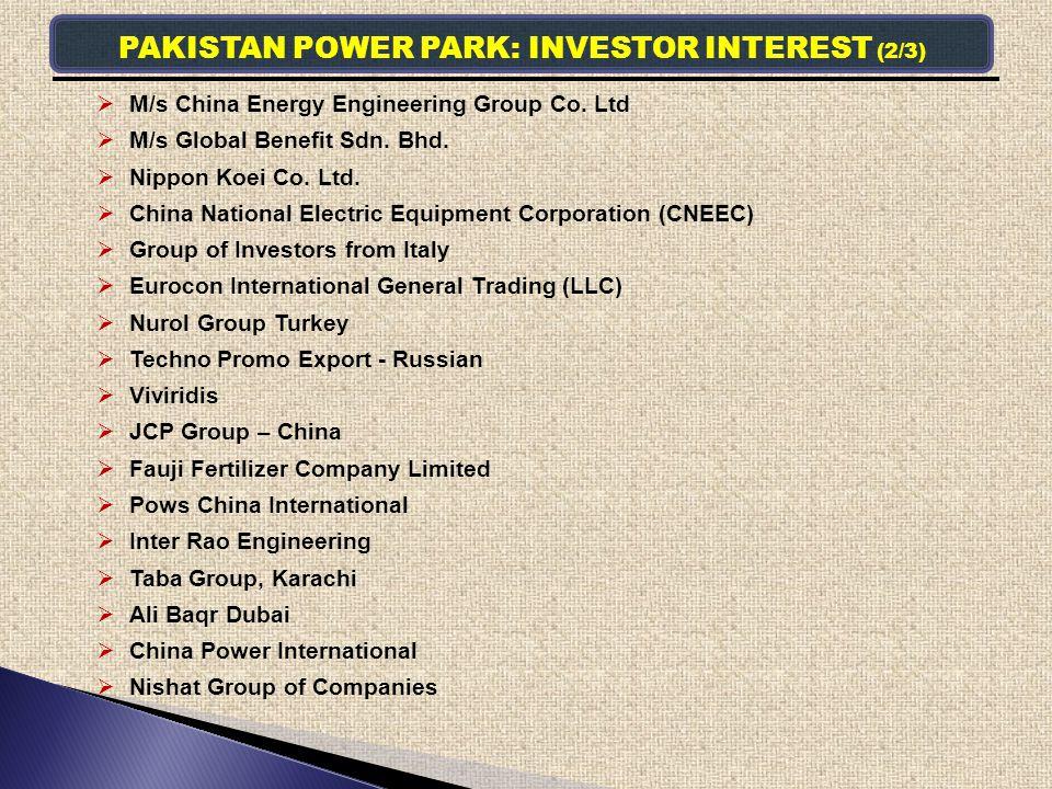 PAKISTAN POWER PARK: INVESTOR INTEREST (2/3)