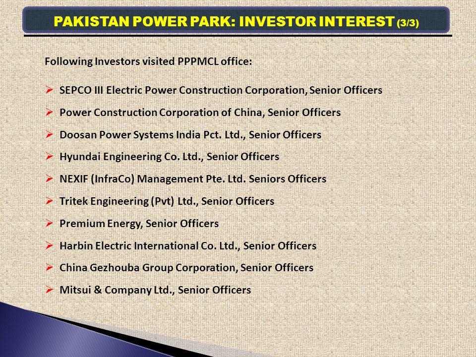 PAKISTAN POWER PARK: INVESTOR INTEREST (3/3)