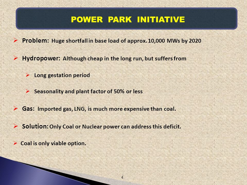 POWER PARK INITIATIVE Problem: Huge shortfall in base load of approx. 10,000 MWs by 2020.