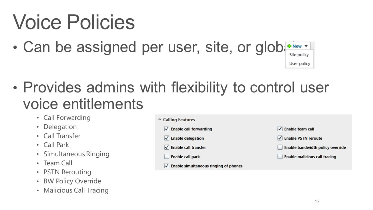 Voice Policies Can be assigned per user, site, or global