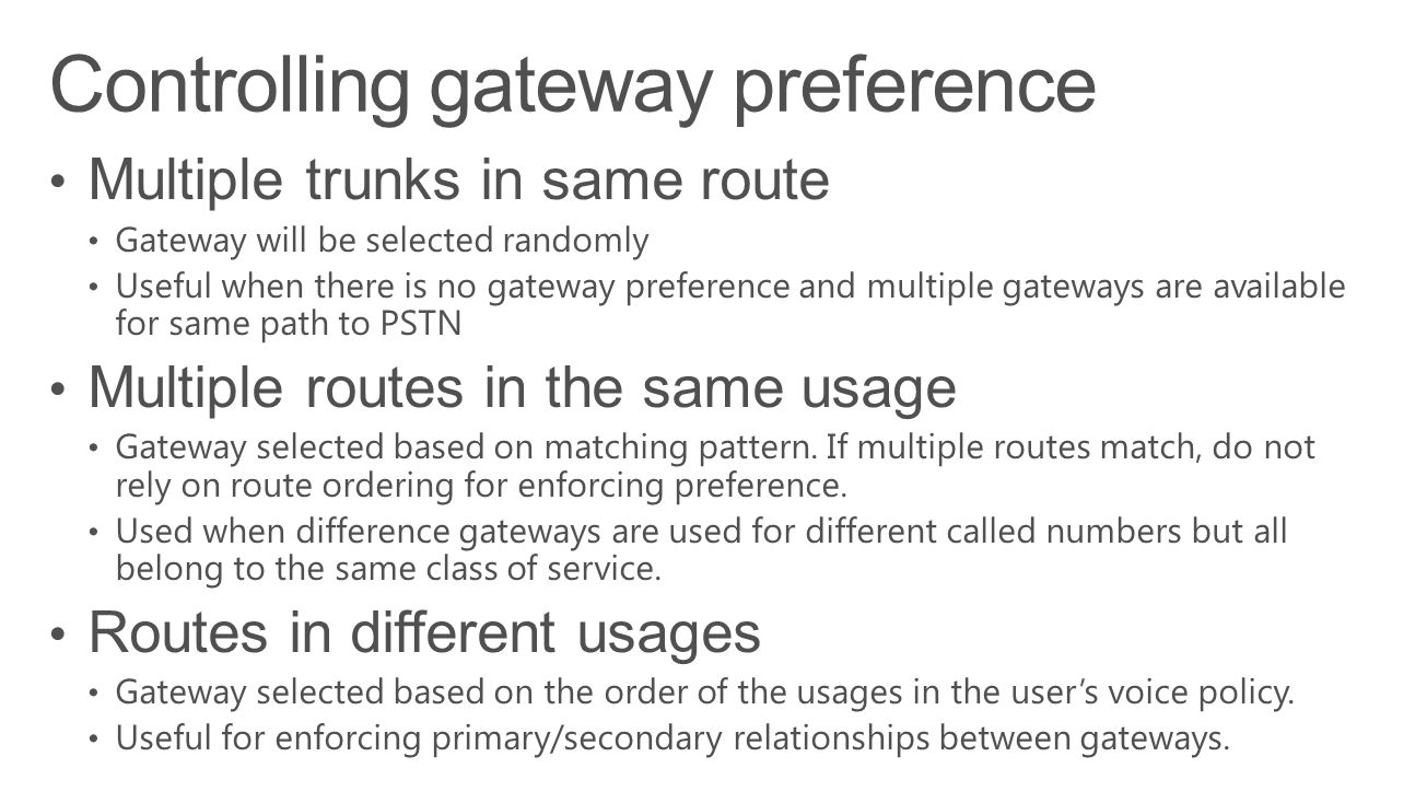 Controlling gateway preference