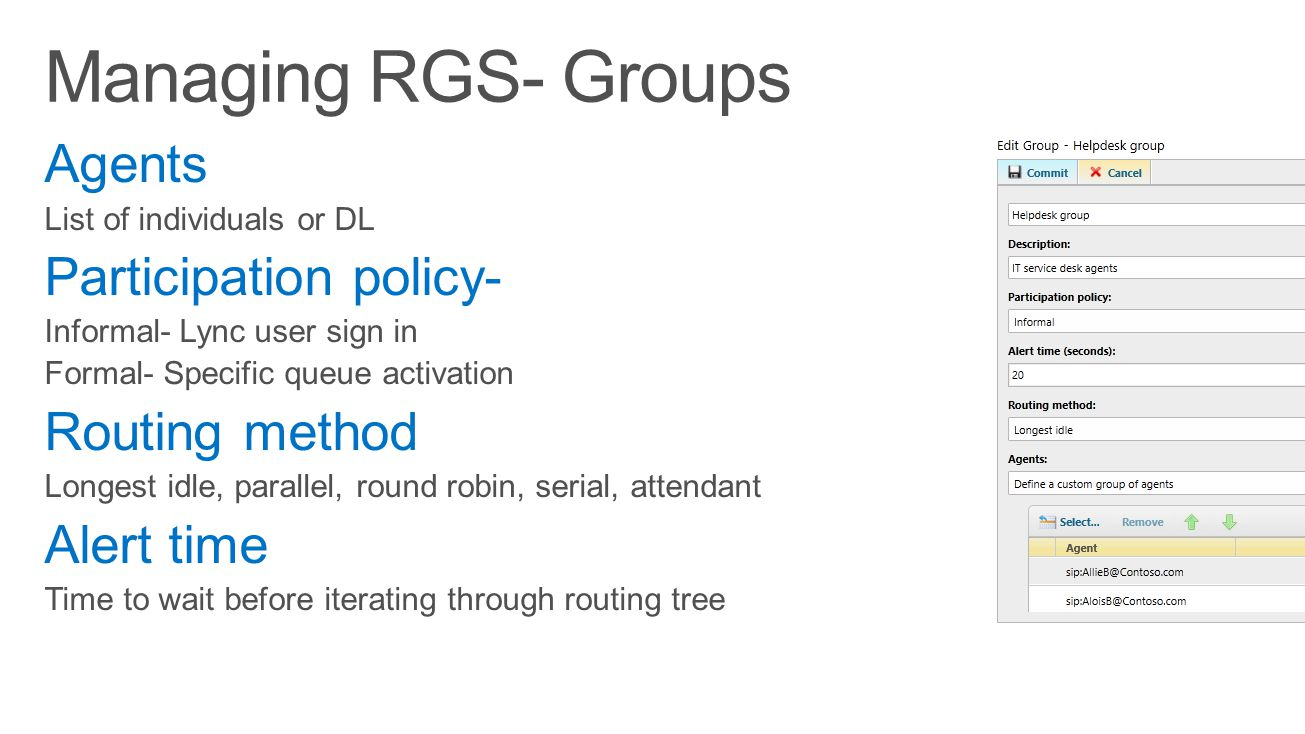 Managing RGS- Groups Agents Participation policy- Routing method