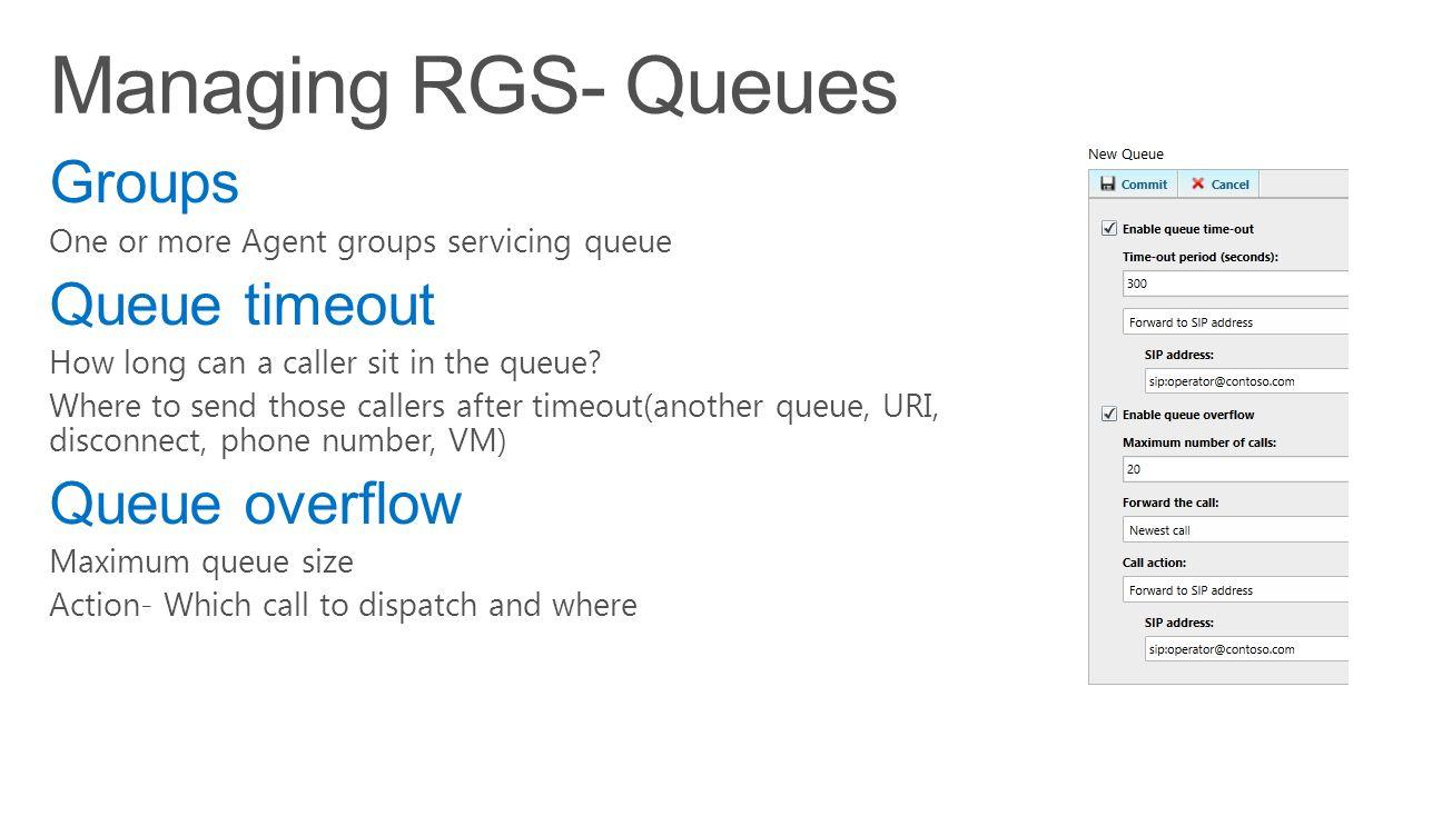 Managing RGS- Queues Groups Queue timeout Queue overflow